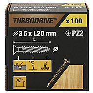 TurboDrive Yellow zinc-plated Steel Wood Screw (Dia)3.5mm (L)20mm, Pack of 100