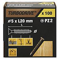 TurboDrive Yellow zinc-plated Steel Wood Screw (Dia)5mm (L)20mm, Pack of 100
