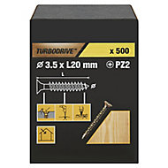 TurboDrive Yellow zinc-plated Steel Wood Screw (Dia)3.5mm (L)20mm, Pack of 500