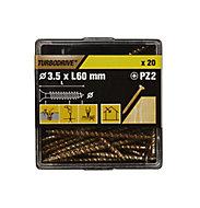TurboDrive Yellow zinc-plated Steel Wood Screw (Dia)3.5mm (L)60mm, Pack of 20