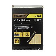 TurboDrive Yellow zinc-plated Steel Wood Screw (Dia)5mm (L)90mm, Pack of 100