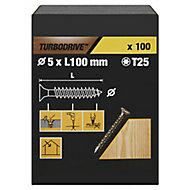 TurboDrive Yellow zinc-plated Steel Wood Screw (Dia)5mm (L)100mm, Pack of 100