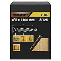 TurboDrive Yellow zinc-plated Steel Wood Screw (Dia)5mm (L)100mm, Pack of 100