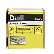 Diall Yellow zinc-plated Carbon steel Wood Screw (Dia)3.5mm (L)16mm, Pack of 100