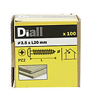 Diall Yellow zinc-plated Carbon steel Wood Screw (Dia)3.5mm (L)20mm, Pack of 100