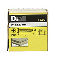 Diall Yellow zinc-plated Carbon steel Wood Screw (Dia)4mm (L)20mm, Pack of 100