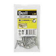Diall Stainless steel Wood Screw (Dia)3.5mm (L)25mm, Pack of 20
