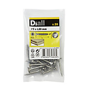 Diall Stainless steel Wood Screw (Dia)5mm (L)30mm, Pack of 20