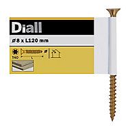 Diall Yellow zinc-plated Steel Wood Screw (Dia)8mm (L)120mm, Pack of 1