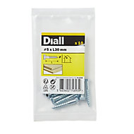 Diall Zinc-plated Carbon steel Coach screw (L)70mm, Pack of 10
