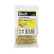 Diall Brass Wood Screw (Dia)3.5mm (L)40mm, Pack of 25