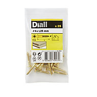 Diall Brass Wood Screw (Dia)4mm (L)25mm, Pack of 25