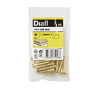 Diall Brass Wood Screw (Dia)4mm (L)30mm, Pack of 25