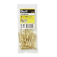 Diall Brass Wood Screw (Dia)4mm (L)50mm, Pack of 25