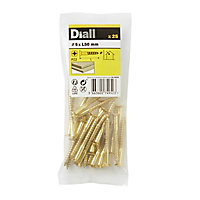 Diall Brass Wood Screw (Dia)5mm (L)50mm, Pack of 25