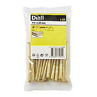 Diall Brass Wood Screw (Dia)6mm (L)80mm, Pack of 25