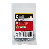 Diall Zinc-plated Carbon steel Metal Screw (Dia)3.5mm (L)16mm, Pack of 25