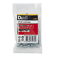 Diall Zinc-plated Carbon steel Metal Screw (Dia)4.8mm (L)19mm, Pack of 25