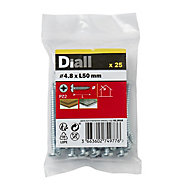 Diall Zinc-plated Carbon steel Metal Screw (Dia)4.8mm (L)50mm, Pack of 25