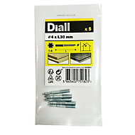 Diall Yellow zinc-plated Carbon steel Dowel screw (Dia)4mm (L)30mm, Pack of 5