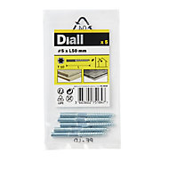 Diall Yellow zinc-plated Carbon steel Dowel screw (Dia)5mm (L)50mm, Pack of 5