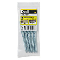 Diall Yellow zinc-plated Carbon steel Dowel screw (Dia)10mm (L)100mm, Pack of 5