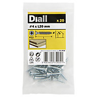 Diall Zinc-plated Carbon steel Wood Screw (Dia)4mm (L)20mm, Pack of 20
