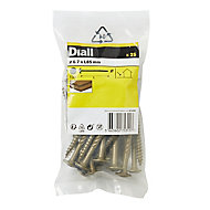 Diall Carbon steel Wood Screw (Dia)6.7mm (L)85mm, Pack of 25