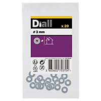 Diall M3 Carbon steel Flat washer, Pack of 20