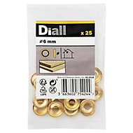 Diall M6 Brass Screw cup Washer, Pack of 25