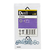 Diall M4 Carbon steel Flat Washer, Pack of 20