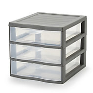 Form Kontor Clear & grey 21L 3 drawer Stackable Tower unit