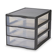 Form Kontor Clear & grey 45L 3 drawer Stackable Tower unit