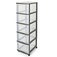Form Kontor Clear & grey 26L 5 drawer Plastic Tower unit