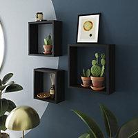 Form Rigga Black Cube shelves, Set of 3