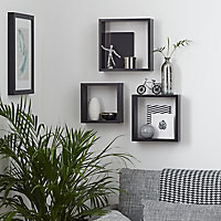 Form Rigga Black Cube shelves, Set of 3