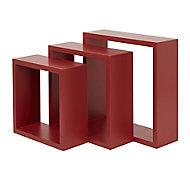 Form Rigga Red Cube Shelf (D)98mm, Set of 3