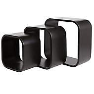 Form Cusko Black Cube Shelf (D)155mm, Set of 3