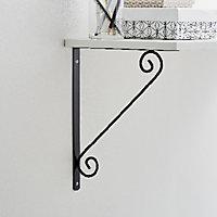 Form Antik Black Antique effect Painted Steel Shelving bracket (H)200mm (D)200mm