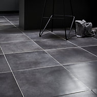 Konkrete Anthracite Matt Concrete effect Porcelain Floor tile, Pack of 10, (L)426mm (W)426mm