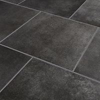 Konkrete Anthracite Matt Concrete effect Porcelain Floor tile, Pack of 10, (L)426mm (W)426mm