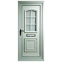 Georgian 2 panel White PVCu Glazed External Front door & frame LH, (H)2055mm (W)920mm