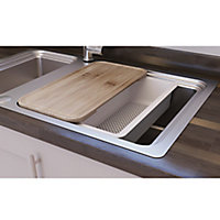 GoodHome Romesco Stainless steel 1.5 Bowl Sink