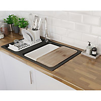 GoodHome Romesco Black Composite quartz 1.5 Bowl Sink