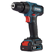 Erbauer Cordless 12V 2Ah Lithium-ion Brushed Drill driver 2 batteries EDD12-Li-2