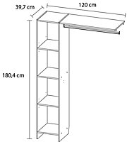 Form Pole White Matt Wardrobe Dressing Kit (H)1804mm (W)1200mm