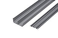 Valla Silver effect Sliding wardrobe door track (L)2700mm