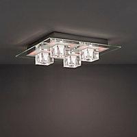 Fama Brushed Chrome effect 4 Lamp Ceiling light