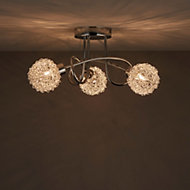 Caelus Brushed Chrome effect 3 Lamp Ceiling light