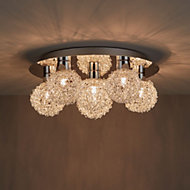 Caelus Brushed Chrome effect 6 Lamp Ceiling light